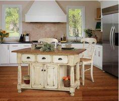 Mobile Kücheninsel Und Hellblauer Retro Kühlschrank | Küche, Kuchen Ideen