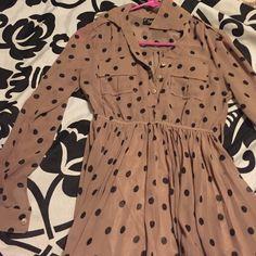 Polka dot dress Taupe/mauve shade with large black polka dots Fendi Lian Dresses Midi