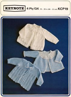 Baby 4 ply Matinee Jackets 3 styles 18-20 ins by avintagescot