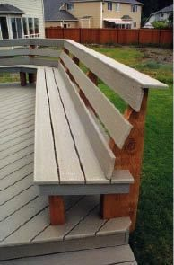 Make back railing horizontal from house kitchen side built in seating Installing the seat and back is the easy part, although compound angle cuts are required at the inside corners. Deck Bench Seating, Curved Bench, Built In Seating, Built In Bench, Hot Tub Pergola, Deck With Pergola, Diy Pergola, Pergola Plans, Pergola Ideas