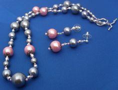 Pearl OOAK Swarovski handmade pink gray silver by ElmsRealm, $35.00