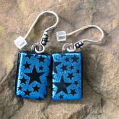 Blue Dichroic Fused Glass Drop Earrings Starry Starry by GlassCat, $20.00