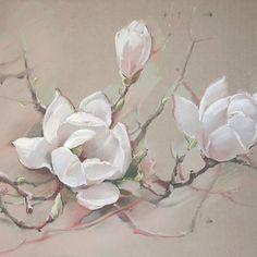 Белая магнолия, 65х65 Бумага, пастель White Magnolia Pastel on paper Немного цветущих деревьев. #картина #пастель #art #pastelpainting #artwork #pastel #tree #magnolia #cansonpaper #canson