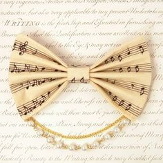 Lolita Fabric Hair Bow Clip Barrette Kawaii Cream Music Sheet Musical notes White Pearls Gold Chain. $10.00, via Etsy.