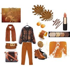 """""""Rust and Black with Gold Accents"""" by martha-hill-carter on Polyvore"""