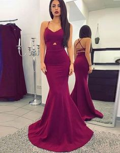 New Arrival Burgundy Mermaid Prom Dress,Sweethart Formal Gown