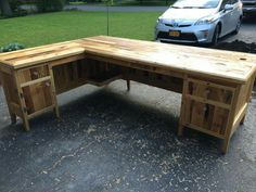 Pallets Wood Made Big Office Table Recycle Upcycle Ideas Shared Via SlingPic