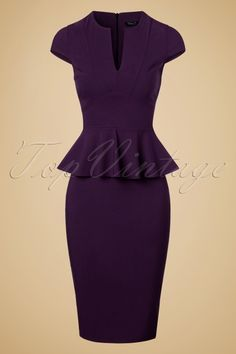 Vintage Chic Cap Sleeve Peplum Pencil Dress in Aubergine 100 60 19599 20160928 0005w