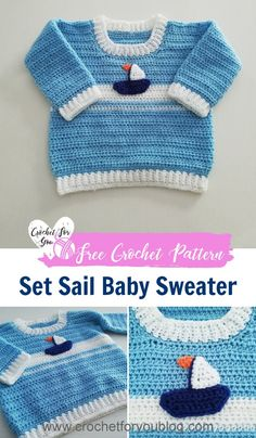 Crochet Baby Girl Crochet Set Sail Baby Sweater Free Pattern - I crocheted this baby sweater pattern thinking about a sailboat on the sea. I just loved how it turned out. I hope you like this pattern as much as I like it. Crochet Baby Sweater Pattern, Crochet Baby Blanket Beginner, Crochet Baby Sweaters, Baby Sweater Patterns, Crochet Baby Clothes, Baby Patterns, Baby Knitting, Free Knitting, Crochet Patterns
