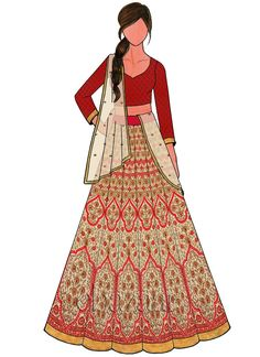 Buy Cream Art Silk Kali Lehenga Set online, SKU Code: This White color Wedding a line lehenga for Women comes with Sequins Net . Shop Now! Dress Design Sketches, Fashion Design Drawings, Fashion Sketches, Fashion Sketchbook, Fashion Illustrations, Choli Designs, Lehenga Designs, Dress Designs, Kimono Fashion