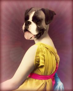 Dog Art Print Boxer Mixed Media Collage by WatchfulCrowArts, $22.00