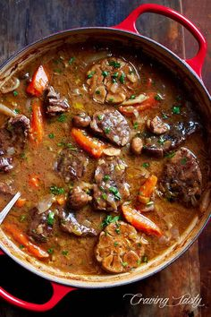 Braised beef cooked in a cast iron braising pan with mushrooms leeks carrots Beef Recipes For Dinner, Meat Recipes, Cooking Recipes, Skillet Recipes, Cooking Tools, Cooking Classes, Braiser Recipes, Cooking Gadgets, Recipes
