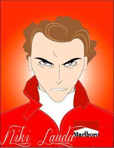Ilustración de Niki Lauda de la película Rush