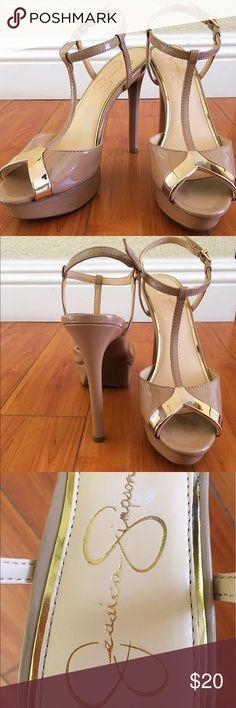 Heels  Jessica Simpson nude & gold platform heels  Jessica Simpson Shoes Heels