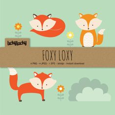 Fox Vector Clipart instant download by LittleBoxStudio on Etsy