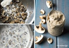 You really WON'T believe it's vegan! Creamy and rich enough to be used for casserole, pasta, and soups, with mild amount of salt. It's gluten free too! Vegan Mushroom Soup, Mushroom Soup Recipes, Vegan Soup, Vegetarian Food, No Dairy Recipes, Delicious Vegan Recipes, Whole Food Recipes, Yummy Food, Healthy Recipes