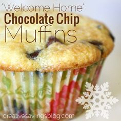 "Recipe: ""Welcome Home"" Chocolate Chip Muffins ~ Creative Savings #muffins #chocolatechips #breakfast"