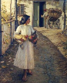 Henry Herbert La Thangue (English, 1859 – 1929) -   Selling Chickens in Liguria, 1906