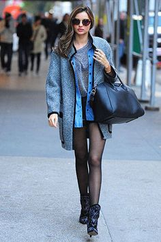 Street Style: A Miranda for All Seasons | Maison Martin Margiela leather shorts, Isabel Marant coat, Chloe denim shirt and Givenchy bag