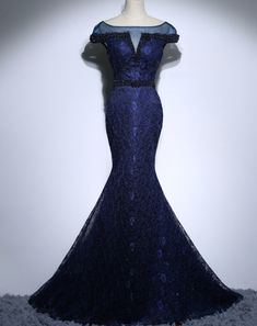 Navy Blue Long Lace Mermaid Evening Dresses Party