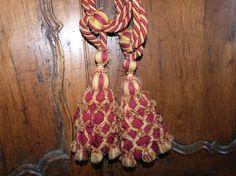 Antique French curtain tiebacks tie backs 1800s tassel tieback w ropecord bobbles wooden interior decorative tassels Chateau drapery tieback