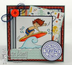 High Hopes Stamps: Hang Ten! by Cheri using Gabriel Loves Surfing (T516) &  Sentiment Set #4 (U507)