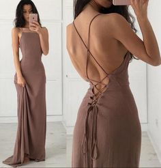 Floor Length Backless Prom Dress ,Sexy Prom/Evening dress,Featuring Sexy Cross Back and Lace-Up Back Detailing