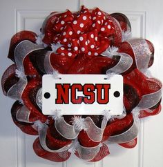 NCSU Red Collegiate Fan Mesh Wreath.@Megan Spencer