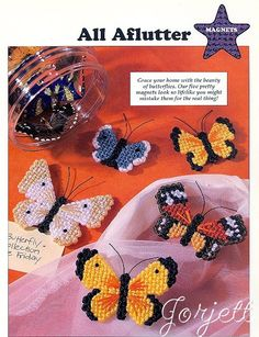 Free Plastic Canvas Butterfly Patterns | THIS ITEM IS CRAFT PATTERN(S) ~ WRITTEN INSTRUCTIONS TO MAKE IT ...