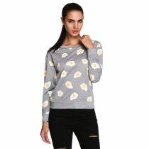 New Women's Cute Poached Eggs Print Sweatshirt Loose Long Pullover Tops