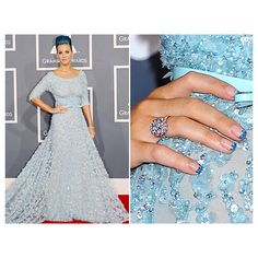 Katy Perry, Rihanna, Adele, Snooki, And Robyn Match Nail Art To Grammy... ❤ liked on Polyvore