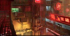 RENDER.RU -> Фантастика -> Cyberpunk. Otaku Place, street view.