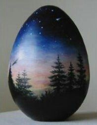 Egg Art Artists International Artists and Artisans Painted Eggs painted egg -- do this as a nativity scene for Christmas? painted egg also would look beautiful on a rock almost like the mural in his home that burned Pebble Painting, Pebble Art, Stone Painting, Painted Gourds, Hand Painted Rocks, Painted Stones, Rock Crafts, Stone Crafts, Rock Painting Designs