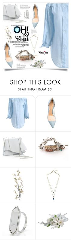 """""""Chambray top - Rosegal"""" by imightygirl ❤ liked on Polyvore featuring Gianvito Rossi, Coast, Pier 1 Imports, pretty, blouse and rosegal"""
