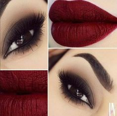 Olho tudo, boca vermelha/vinho. #makeup #bapho