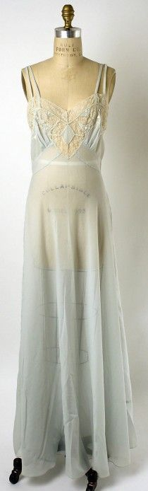 pale blue silk nightgown without jacket, 1952