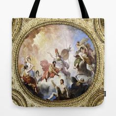 Louvre Tote Bag Fresco on Ceiling Tote Paris Fantasy by MGMart