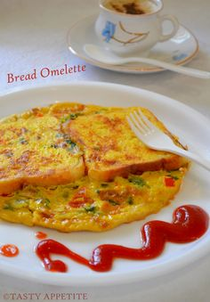 Tasty Appetite: Bread Omelet / Healthy Breakfast Menu / step by s. Healthy Breakfast Menu, Healthy Menu, Breakfast Items, Breakfast Omelette, Egg Omelet, Indian Breakfast, Best Food Ever, Morning Food, Cooking Recipes
