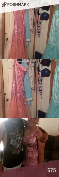 Pink one-shoulder prom dress Form fitting pink mermaid prom dress. Worn once. Perfect condition, paid $100 for it, asking $75 Dresses Prom