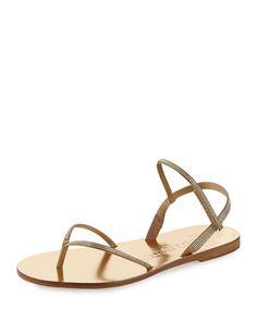 X2J5E Pedro Garcia Iciar Flat Crystal Thong Sandal, Ore