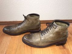 COLE-HAAN-NIKE-AIR-JAYHAWKER-OLIVE-GREEN-LEATHER-WINGTIP-ANKLE-BOOTS-SIZE-11-M