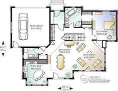 Plan de Rez-de-chaussée Suite des maîtres au r-d-c, mezzanine, 4 ch., cuisine avec îlot, garage (2) - Lavallée