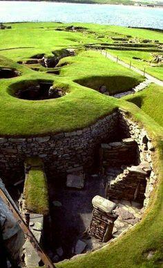 Jarlshof, Prehistoric archaeological site in Shetland, Scotland.