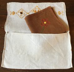 Farmhouse Decor Vintage Embroidery Linens Hand Embroidery