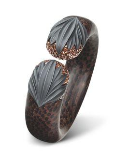 Hemmerle Palm Wood and Brown Diamond Bangle Bracelet