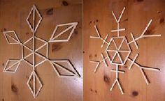 CONSTRUEREN IJskristallen of sneeuwvlokken van stokjes.