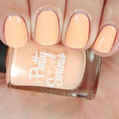 Pretty Serious Cosmetics: Well Meaning But Ultimately Quite Awkward Pastel Pet Names Collection: Peachie Poo is a pastel peach creme. Peach Colored Nails, Peach Nails, Pastel Nails, Peach Nail Polish, Toe Nail Designs, Pet Names, Toe Nails, You Nailed It, Nail Colors