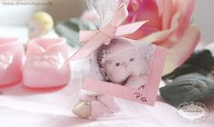Bryllup favor æske pose DIY hjemmelavet favor æske med billede og sløjfe - Barnedåb favour box ligth pink christening decoration