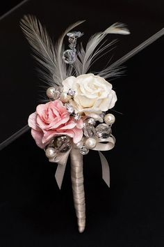 Bridal bouquet Pink and Ivory Rose Boutonnière. Brooch Bouquets, Bride Bouquets, Pink Bouquet, Prom Flowers, Wedding Flowers, Homecoming Flowers, Fake Flowers, Wedding Dresses, Rose Boutonniere