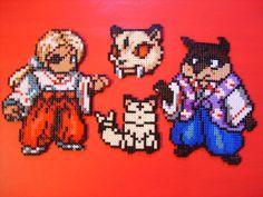 Kaede, Kirara and Hachi  - InuYasha perler beads by anyeshouse on deviantart